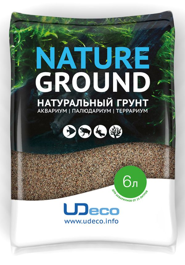 Грунт для аквариума UDeco Коричневый песок, натуральный, 0,1-0,6 мм, 6 лUDC410316Натуральный грунт UDeco Коричневый песок предназначен специально для оформления аквариумов, палюдариумов и террариумов. Изделие готово к применению.Грунт UDeco порадует начинающих любителей природы и самых придирчивых дизайнеров, стремящихся к созданию нового, оригинального. Такая декорация придутся по вкусу и обитателям аквариумов и террариумов, которые ещё больше приблизятся к природной среде обитания.Необходимое количество грунта рассчитывается по формуле:длина аквариума х ширина аквариума х толщина слоя грунта. Предназначен для аквариумов от 25 литров. Фракция: 0,1-0,6 мм.Объем: 6 л.