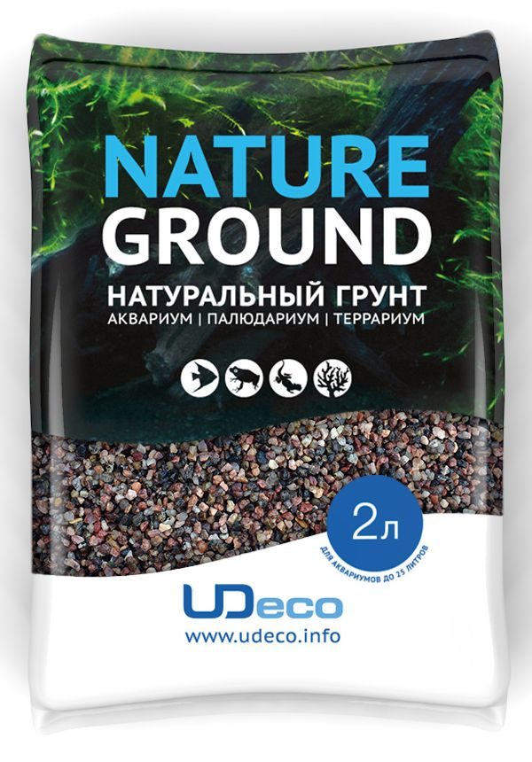 Грунт для аквариума UDeco Коричневый гравий, натуральный, 2,5-5 мм, 2 л0120710Натуральный грунт UDeco Коричневый гравий предназначен специально для оформления аквариумов, палюдариумов и террариумов. Изделие готово к применению.Грунт UDeco порадует начинающих любителей природы и самых придирчивых дизайнеров, стремящихся к созданию нового, оригинального. Такая декорация придутся по вкусу и обитателям аквариумов и террариумов, которые ещё больше приблизятся к природной среде обитания.Необходимое количество грунта рассчитывается по формуле:длина аквариума х ширина аквариума х толщина слоя грунта. Предназначен для аквариумов от 25 литров. Фракция: 2,5-5 мм.Объем: 2 л.
