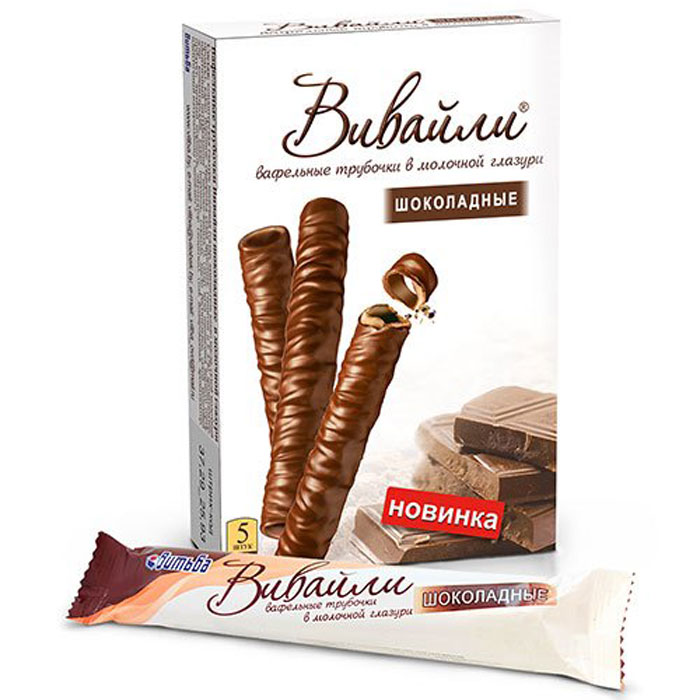 Витьба Вафельные трубочки шоколадные в молочной глазури, 95 гВО11308Вафельные трубочки Витьба Вивайли – нежнейшее сочетание молочной глазури и арахиса в вафельных палочках.