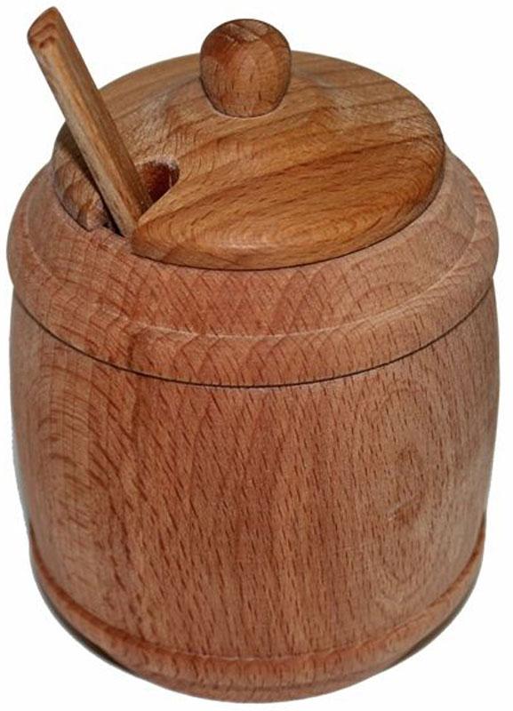 Солонка, с ложкой. MO70115510Солонка с ложечкой и крышкой станет незаменимой вещью для хранения соли. Изделия выполнены из бука. Солонка с ложечкой оригинальной формы впишется в любой интерьер кухни.