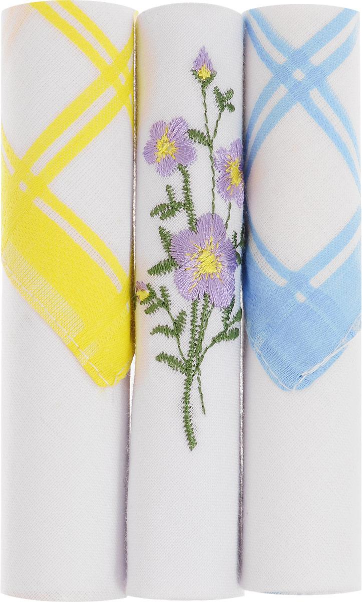 Платок носовой женский Zlata Korunka, цвет: желтый, белый, голубой, 3 шт. 40423-68. Размер 28 см х 28 смСерьги с подвескамиНебольшой женский носовой платок Zlata Korunka изготовлен из высококачественного натурального хлопка, благодаря чему приятен в использовании, хорошо стирается, не садится и отлично впитывает влагу. Практичный и изящный носовой платок будет незаменим в повседневной жизни любого современного человека. Такой платок послужит стильным аксессуаром и подчеркнет ваше превосходное чувство вкуса.В комплекте 3 платка.