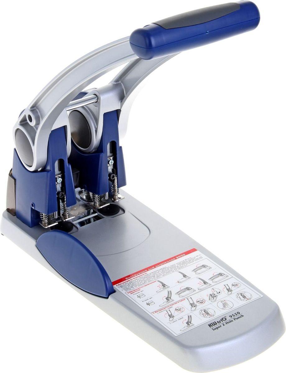 KW-Тrio Дырокол на 300 листов224625Тип: дырокол.Толщина прокола: до 300 листов.Материал корпуса: металл.Цвет: синий/серебристый.Количество пробиваемых отверстий: 2.Диаметр отверстий: 6 мм.Особенности: механизм пробивания в 2 этапа, особо мощный дырокол на 2 отверстия с использованием полых ножей.