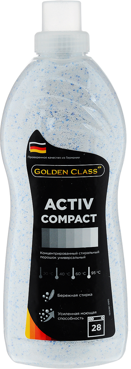 Стиральный порошок Golden Class Activ Compact, концентрированный, универсальный, 1,75 кг98299571Стиральный порошок Golden Class Activ Compact предназначен для стирки изделий из хлопчатобумажных, льняных, синтетических, смесовых, белых и цветных тканей при температуре от 20 до 95°С. Для изделий из шерсти и натурального шелка используйте специальные моющие средства. Activ Compact - это порошок с пониженным пенообразованием, который специально разработан для стирки белья в автоматических стиральных машинах всех типов. Благодаря инновационной технологии порошок отлично удаляет даже самые сложные пятна. Гранулы пятновыводителя быстро растворяются в воде и начинают действовать на пятно уже в самом начале стирки. Специальные отбеливающие компоненты сделают ваше белье белоснежным. Особенности: - Защита структуры волокон ткани и препятствие появлению катышек.- Не содержит фосфатов.- Содержит вещества, препятствующие образованию накипи.- Придает белью приятный свежий аромат.- Предварительная стирка не требуется.Экономичность: 1 упаковка стирального порошка ACTIV COMPACT для стирки 150 кг сухого белья (на 28 стирок). Товар сертифицирован.
