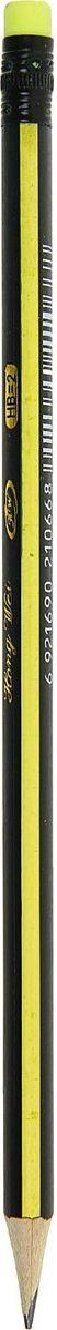 Карандаш чернографитный с ластиком твердость НВ цвет корпуса черный желтый1963303