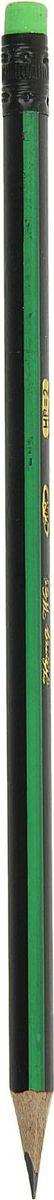 Карандаш чернографитный с ластиком цвет корпуса зеленый черный1963304