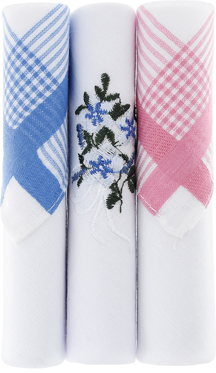 Платок носовой женский Zlata Korunka, цвет: белый, голубой, розовый, 3 шт. 40423-23. Размер 28 см х 28 смСерьги с подвескамиНебольшой женский носовой платок Zlata Korunka изготовлен из высококачественного натурального хлопка, благодаря чему приятен в использовании, хорошо стирается, не садится и отлично впитывает влагу. Практичный и изящный носовой платок будет незаменим в повседневной жизни любого современного человека. Такой платок послужит стильным аксессуаром и подчеркнет ваше превосходное чувство вкуса.В комплекте 3 платка.