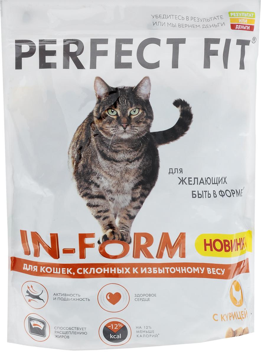 Корм сухой Perfect Fit In-Form для кошек со склонностью к избыточному весу, с курицей, 650 г0120710Корм сухой Perfect Fit In-Form - это вкусное и сбалансированное питание для кошек, склонных к излишнему весу. Каждая кошка уникальна. Некоторые кошки любят весь день проводить за играми, другие, напротив, нежиться в удобстве. Однако тем из них, кому предпочтительнее проводить время, устроившись комфортно на диване, чаще грозит потеря идеальной фигуры. Для предотвращения этого используйте идеально согласованное, высококачественное питание, чтобы ваш ленивый любимец всегда оставался в форме и в хорошем настроении.Ключевые особенности: На 12% меньше калорий. Специальная рецептура позволяет снизить потребление калорий в каждом кормлении. Способствует расщеплению жиров. Содержит L-карнитин, который способствует расщеплению жиров. Здоровое сердце. Содержит таурин для поддержания здоровья сердца. Активность и подвижность. Поддержание оптимального веса способствует хорошей активности и подвижности животного. Корм не содержит ароматизаторов, красителей, консервантов. Товар сертифицирован.