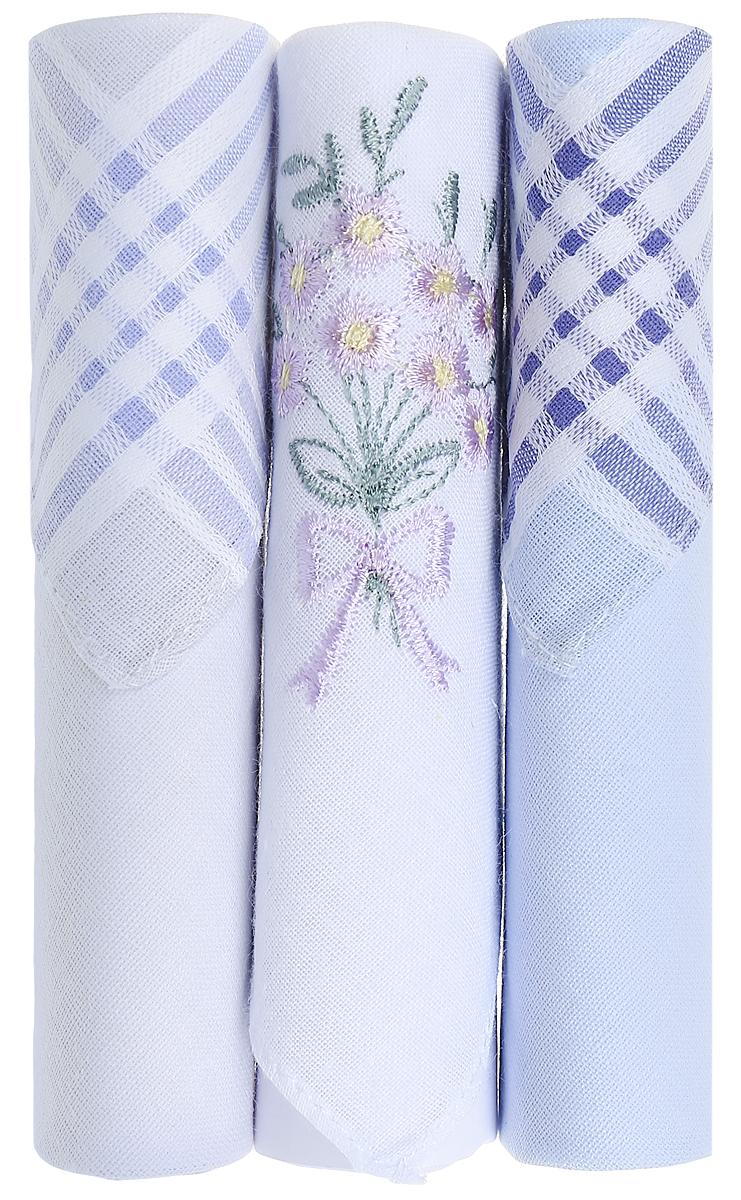 Платок носовой женский Zlata Korunka, цвет: голубой, белый, 3 шт. 40423-119. Размер 28 см х 28 см39864|Серьги с подвескамиНебольшой женский носовой платок Zlata Korunka изготовлен из высококачественного натурального хлопка, благодаря чему приятен в использовании, хорошо стирается, не садится и отлично впитывает влагу. Практичный и изящный носовой платок будет незаменим в повседневной жизни любого современного человека. Такой платок послужит стильным аксессуаром и подчеркнет ваше превосходное чувство вкуса.В комплекте 3 платка.