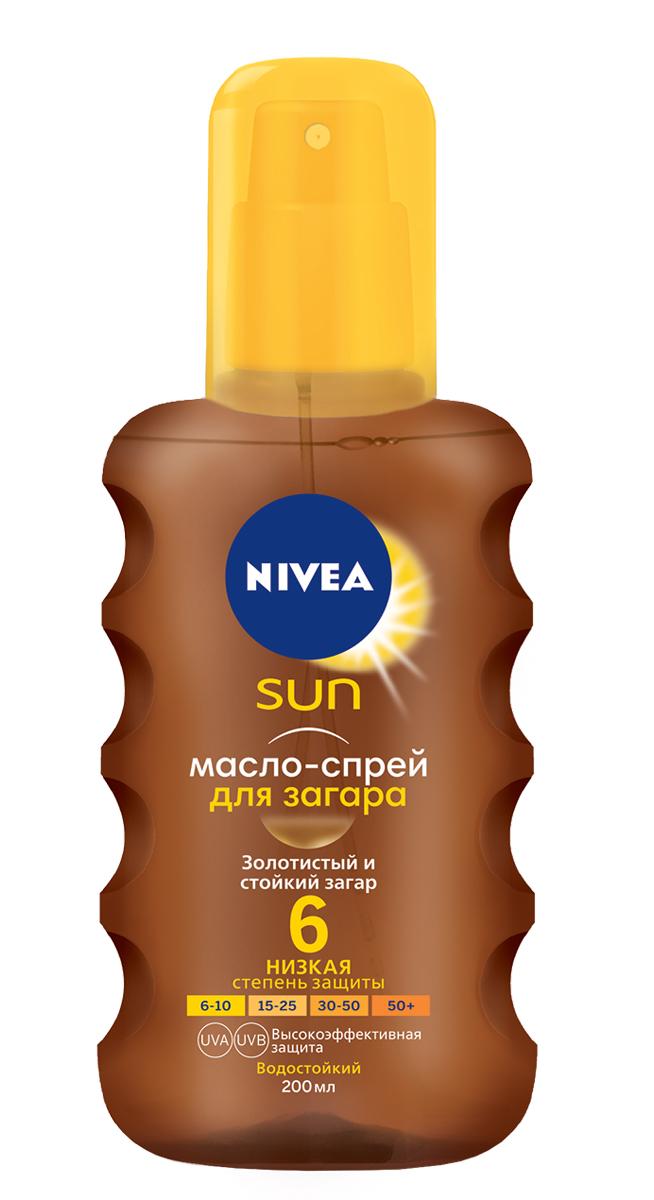 Nivea Sun Масло-спрей для загара SPF 6, 200мл nivea лосьон солнцезащитный освежающий spf 50 nivea 200 мл
