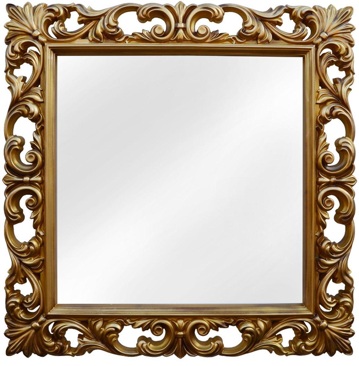 Зеркало VezzoLLi Нованто, цвет: золотой, 90 х 90 смFS-91909Подвесы в комплекте. Видимый размер зеркала 63х63 см. Ширина обрамления 13,5 см.