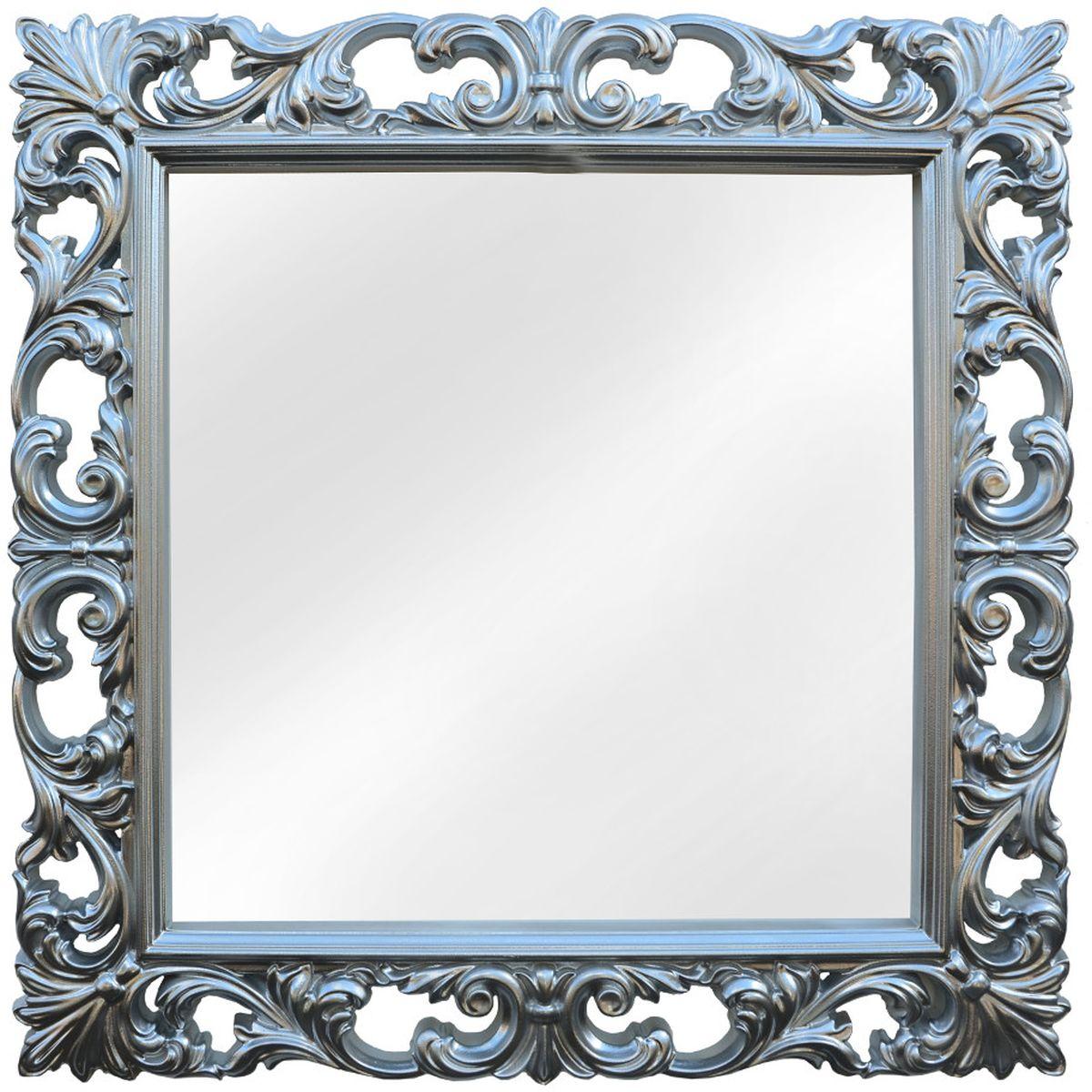 Зеркало VezzoLLi Нованто, цвет: серый металлик, 90 х 90 см54 009312Подвесы в комплекте. Видимый размер зеркала 63х63 см. Ширина обрамления 13,5 см.