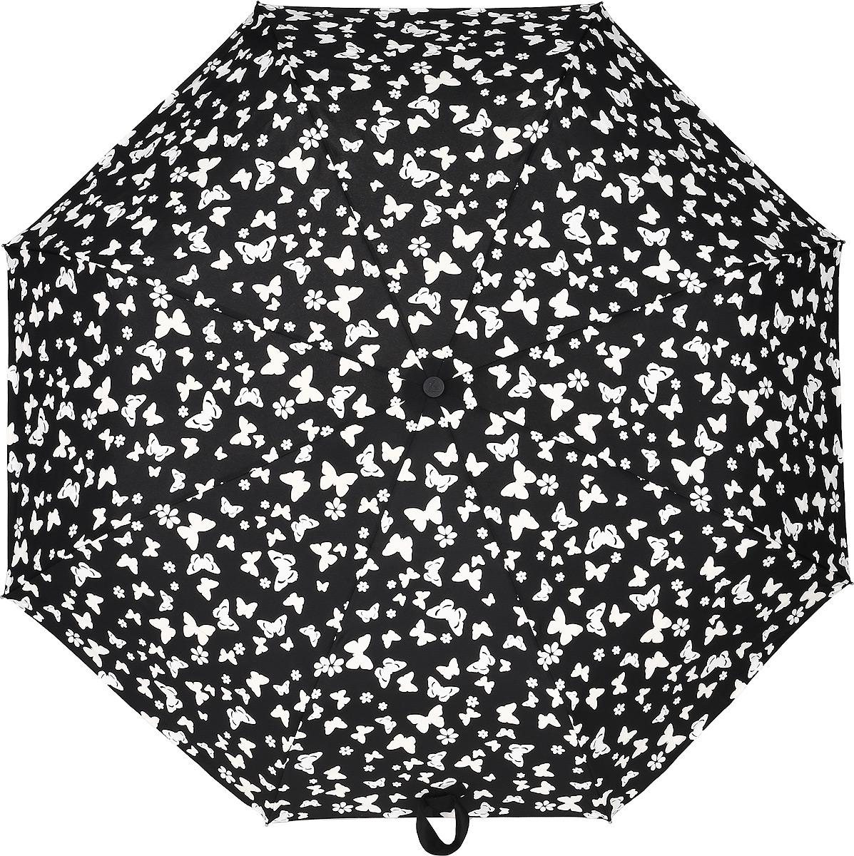 Зонт женский Fulton, механический, 3 сложения, цвет: черный, белый. L779-3391Серьги с подвескамиСтильный механический зонт Fulton имеет 3 сложения, даже в ненастную погоду позволит вам оставаться стильной. Легкий, но в тоже время прочный алюминиевый каркас состоит из восьми спиц с элементами из фибергласса. Купол зонта выполнен из прочного полиэстера с водоотталкивающей пропиткой. Рукоятка закругленной формы, разработанная с учетом требований эргономики, выполнена из каучука. Зонт имеет механический способ сложения: и купол, и стержень открываются и закрываются вручную до характерного щелчка.