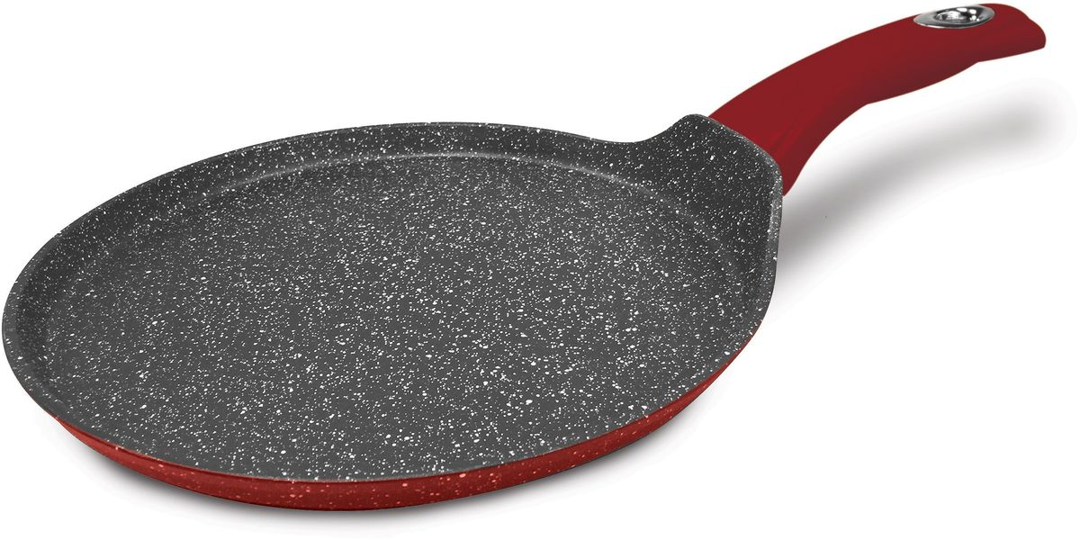 Блинница MOULINvilla Raspberry, для индукционных плит, диаметр: 24 смRPS-24-IНовая серия посуды RASPBERRY сочетает высокопрочное покрытие и новейший дизайн, изящные формы в совершенном исполнении от компании MoulinVilla. При производстве сковород серии Raspberry используется современное антипригарное покрытие на водной основе. Используемое покрытие не содержит вредных для здоровья человека веществ, таких как свинец, кадмий и PFOA (перфтороктановая кислота в 2006 году признана канцерогеном). При соблюдении рабочих температур эксплуатации данное покрытие не вступает в реакцию с пищей, что делает его абсолютно безопасным для приготовления любых блюд. Данные сковороды подходят для всех типов плит, подходят для посудомоечной машины, готовить и ухаживать за сковородой стало еще удобнее.