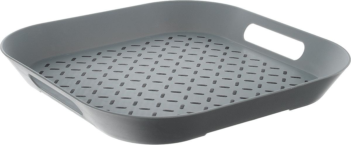 Поднос Zeller, цвет: серый, 34 х 34 х 4,3 см115510Оригинальный поднос Zeller, изготовленный из прочного пищевого пластика, станет незаменимым предметом для сервировки стола. Изделие снабжено специальными прорезиненными вставками, которые предотвращают скольжение посуды. Основание подноса также имеет резиновые вставки. Для удобства переноски предусмотрены удобные ручки и высокие бортики. Такой поднос станет полезным и практичным приобретением для вашей кухни.