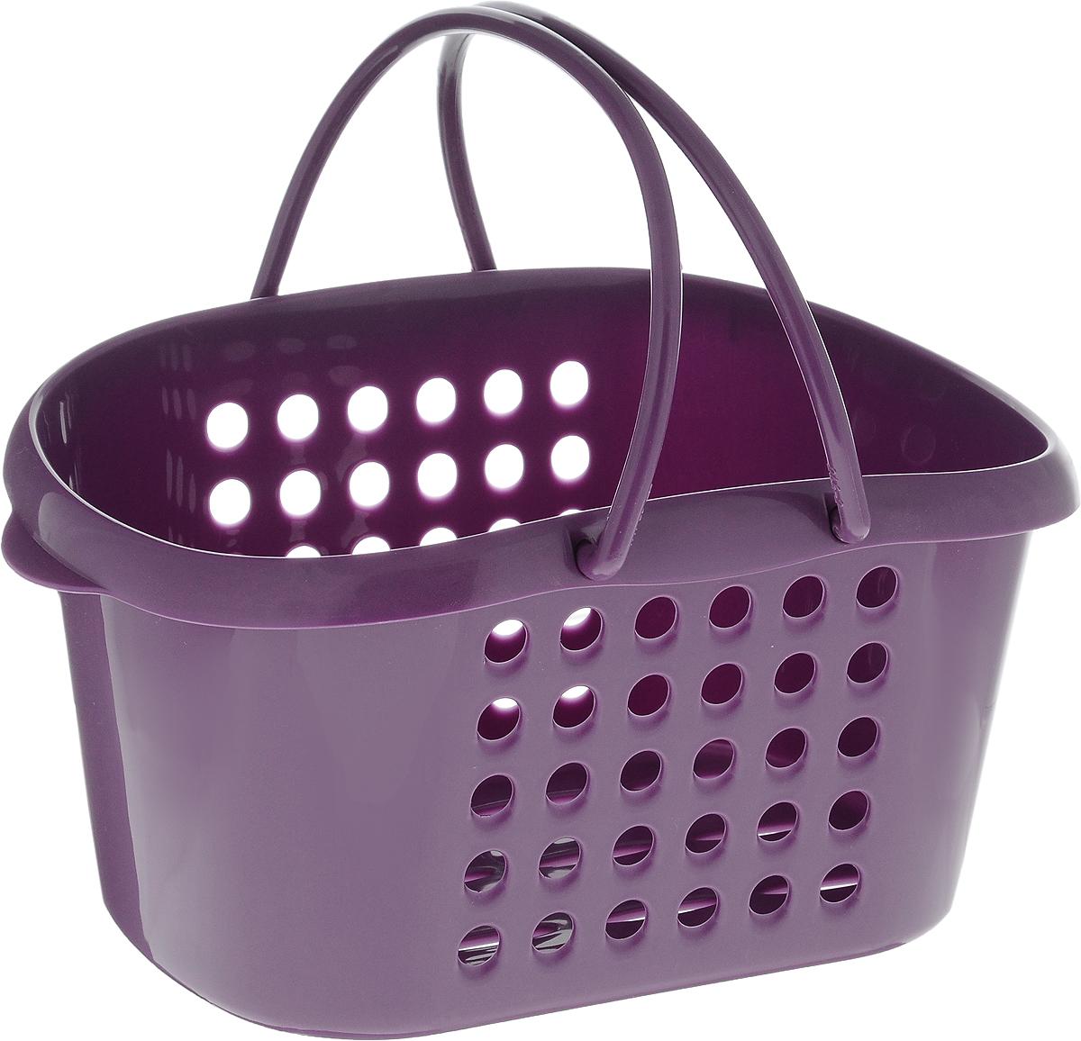 Корзинка универсальная Бытпласт, с ручками, цвет: фиолетовый, 23 х 17,5 х 11,5 см28907 4Универсальная корзинка Бытпласт изготовлена из высококачественного пластика и предназначена для хранения и транспортировки вещей. Корзинка подойдет как для пищевых продуктов, так и для ванных принадлежностей и различных мелочей. Изделие оснащено двумя ручками для более удобной транспортировки. Основание и стенки корзинки оформлены перфорацией. Универсальная корзинка Бытпласт позволит вам хранить вещи компактно и с удобством.