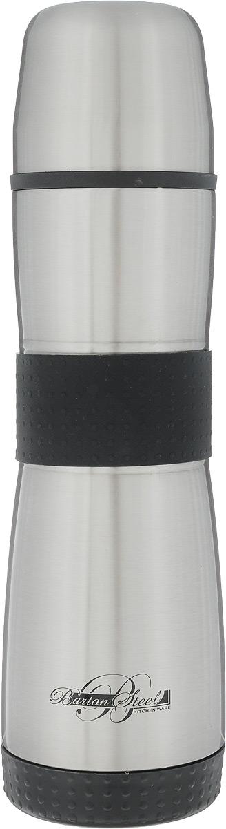Термос BartonSteel, с узким горлом, цвет: серебристый, черный, 500 млVT-1520(SR)Термос с узким горлом BartonSteel выполнен из нержавеющей стали. Долговечная и гигиеническая внутренняя колба выполнена из нержавеющей стали 18/8. Вакуумная колба позволяет сохранять тепло или холод долгое время. Термос имеет вакуумную прослойку между внутренней колбой и внешней стенкой. Термос снабжен герметичной пластиковой крышкой с клапаном. Для того чтобы налить содержимое термоса нет необходимости откручивать пробку, достаточно открыть клапан. Термос оснащен резиновыми вставками, что обеспечивает удобство использования. Легкий и удобный, термос BartonSteel станет незаменимым спутником в ваших поездках.Объем: 500 мл.Высота термоса: 25 см.Диаметр основания: 7 см.Диаметр горлышка: 4,5 см.