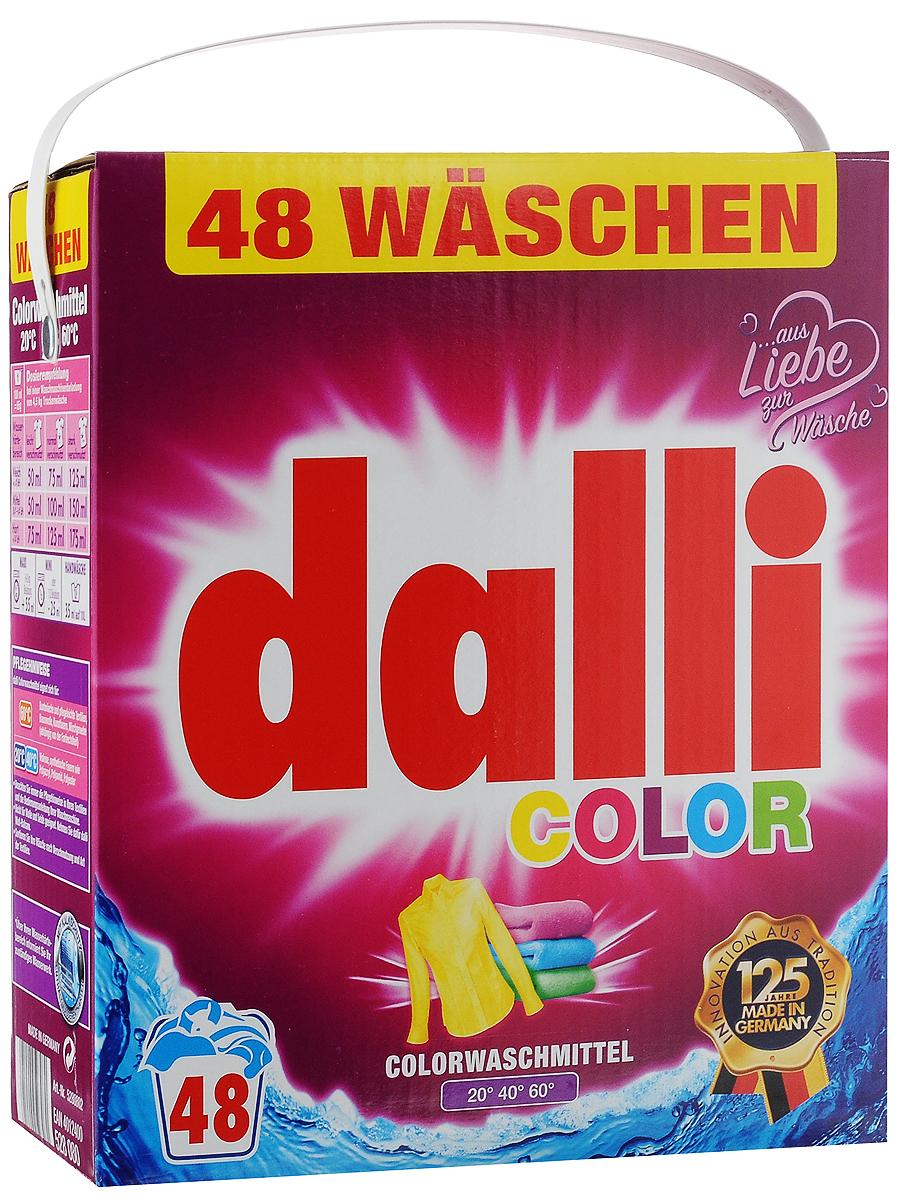 Стиральный порошок Dalli Color, для цветных тканей, 3,12 кг106-026Стиральный порошок Dalli Color с активной системой долговременной защиты цвета надежно предохраняет цветные ткани от выцветания, потери яркости и насыщенности окраски, предотвращает смешивание красок. Цвета даже после многочисленных стирок остаются интенсивными и сияющими. Средство обладает безупречным отстирывающим показателем, удаляет даже застарелые трудновыводимые загрязнения. Порошок подходит как для ручной, так и для машинной стирки в воде любой жесткости при температуре от 20 до 60°С. Добавление средства для уменьшения жесткости воды не требуется. Порошок придает белью и одежде приятный аромат свежести. Не содержит отбеливателей и оптических осветлителей. Рекомендуется использовать для хлопка, искусственных волокон, смесовых тканей, вискозы, синтетических волокон (полиакрил, полиамид, полиэстер). Не рекомендуется применять для шерсти и шелка.Одна упаковка рассчитана на 48 стирок. Товар сертифицирован.