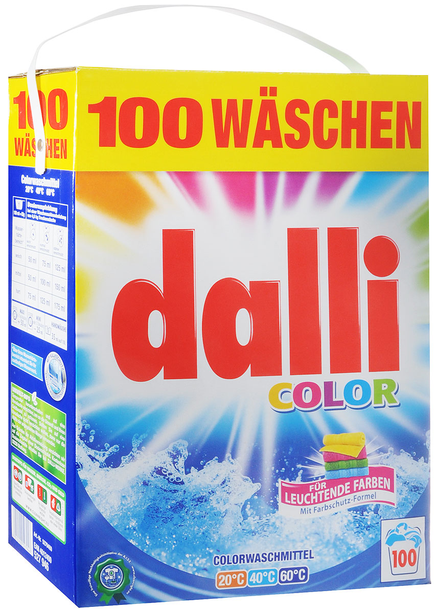 Стиральный порошок Dalli, для цветных тканей, 6,5 кг10285Стиральный порошок Dalli - концентрированный стиральный порошок с активной системой защиты цвета, который надежно предохраняет цветные ткани от выцветания и потери яркости. Порошок предотвращает смешивание красок. Цвета даже после многочисленных стирок остаются интенсивными и сияющими. Обладает безупречным отстирывающим показателем, удаляет даже застарелые трудновыводимые загрязнения. Идеально подходит как для ручной, так и для машинной стирки в воде любой жесткости при температуре от 30°С до 60°С. Порошок придает белью и одежде приятный аромат удивительной свежести. Не рекомендуется применять для шерсти и шелка.Добавление средства для уменьшения жесткости воды не требуется.Товар сертифицирован.