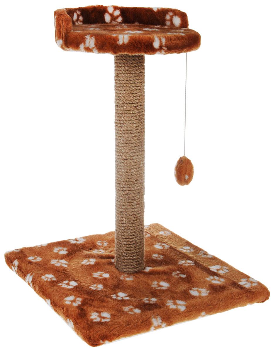 Когтеточка Меридиан Арена, цвет: коричневый, белый, бежевый, 40 х 40 х 59 см. К5150120710Когтеточка Меридиан Арена поможет сохранить мебель и ковры в доме от когтей вашего любимца, стремящегося удовлетворить свою естественную потребность точить когти. Когтеточка изготовлена из ДСП, искусственного меха и джута. Товар продуман в мельчайших деталях и, несомненно, понравится вашей кошке. Подвесная игрушка привлечет внимание питомца. Сверху имеется полка с бортом, на которой кошка сможет отдохнуть.Всем кошкам необходимо стачивать когти. Когтеточка - один из самых необходимых аксессуаров для кошки. Для приучения к когтеточке можно натереть ее сухой валерьянкой или кошачьей мятой. Когтеточка поможет вашему любимцу стачивать когти и при этом не портить вашу мебель.Размер основания: 40 х 40 см.Высота когтеточки: 59 см.Диаметр полки: 28 см.