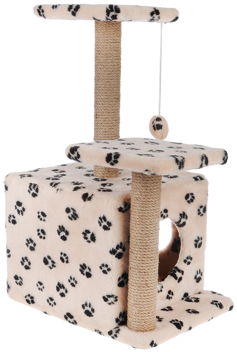 Игровой комплекс для кошек Меридиан, с домиком и когтеточкой, цвет: бежевый, черный, 45 х 47 х 75 смД131 Ла_бежевый, чёрные лапкиИгровой комплекс для кошек Меридиан выполнен из высококачественного ДВП и ДСП и обтянут искусственным мехом. Изделие предназначено для кошек. Ваш домашний питомец будет с удовольствием точить когти о специальный столбик, изготовленный из джута. А отдохнуть он сможет либо на полках разной высоты, либо в расположенном внизу домике. Также комплекс оснащен подвесной игрушкой, которая привлечет вашего питомца.Общий размер: 45 х 47 х 75см.Размер домика: 45 х 36 х 32 см.Высота полок (от пола): 75 см, 45 см.Размер полок: 26 х 26 см.