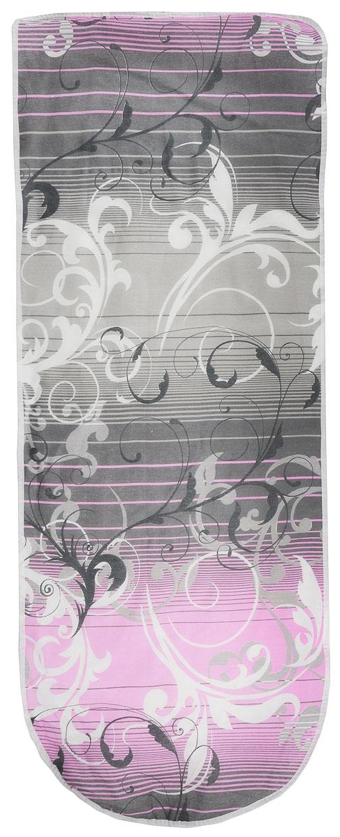 """Чехол для гладильной доски """"Eva"""", цвет: серый, розовый, белый, 125 х 47 см"""
