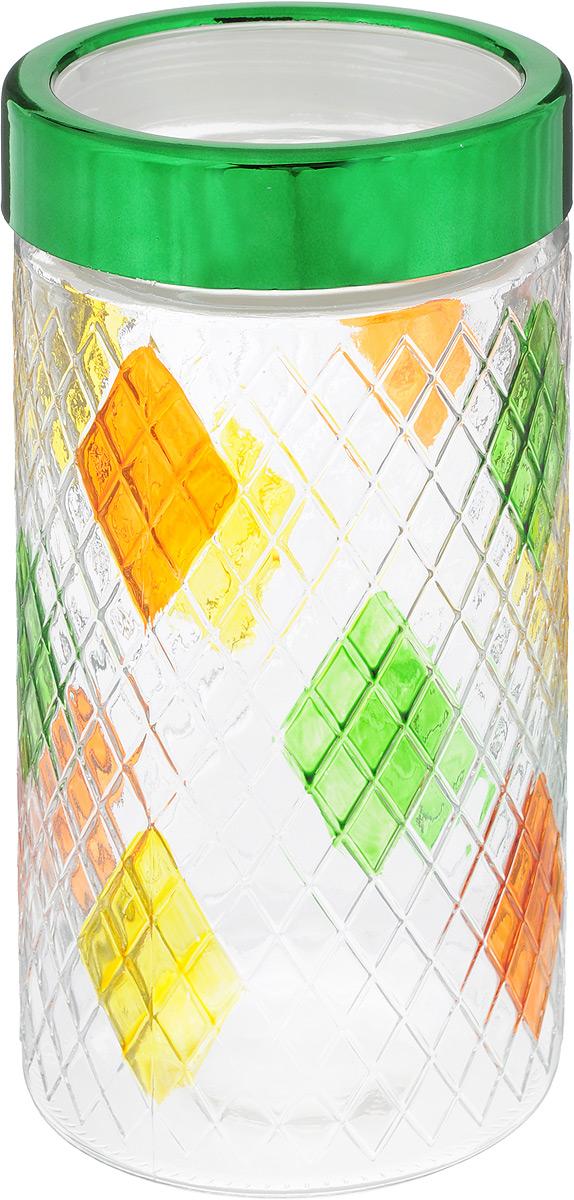 Банка для сыпучих продуктов Bohmann, цвет: зеленый, прозрачный, желтый, 1,7 л01331BHGNEWБанка Bohmann изготовлена из стекла. Емкость снабжена пластиковой крышкой, которая плотно закрывается, дольше сохраняя аромат и свежесть содержимого. Банка подходит для хранения сыпучих продуктов: круп, специй, сахара, соли и прочего. Такая банка станет полезным приобретением и пригодится на любой кухне.Диаметр (по верхнему краю): 9 см.Высота (без учета крышки): 22 см.
