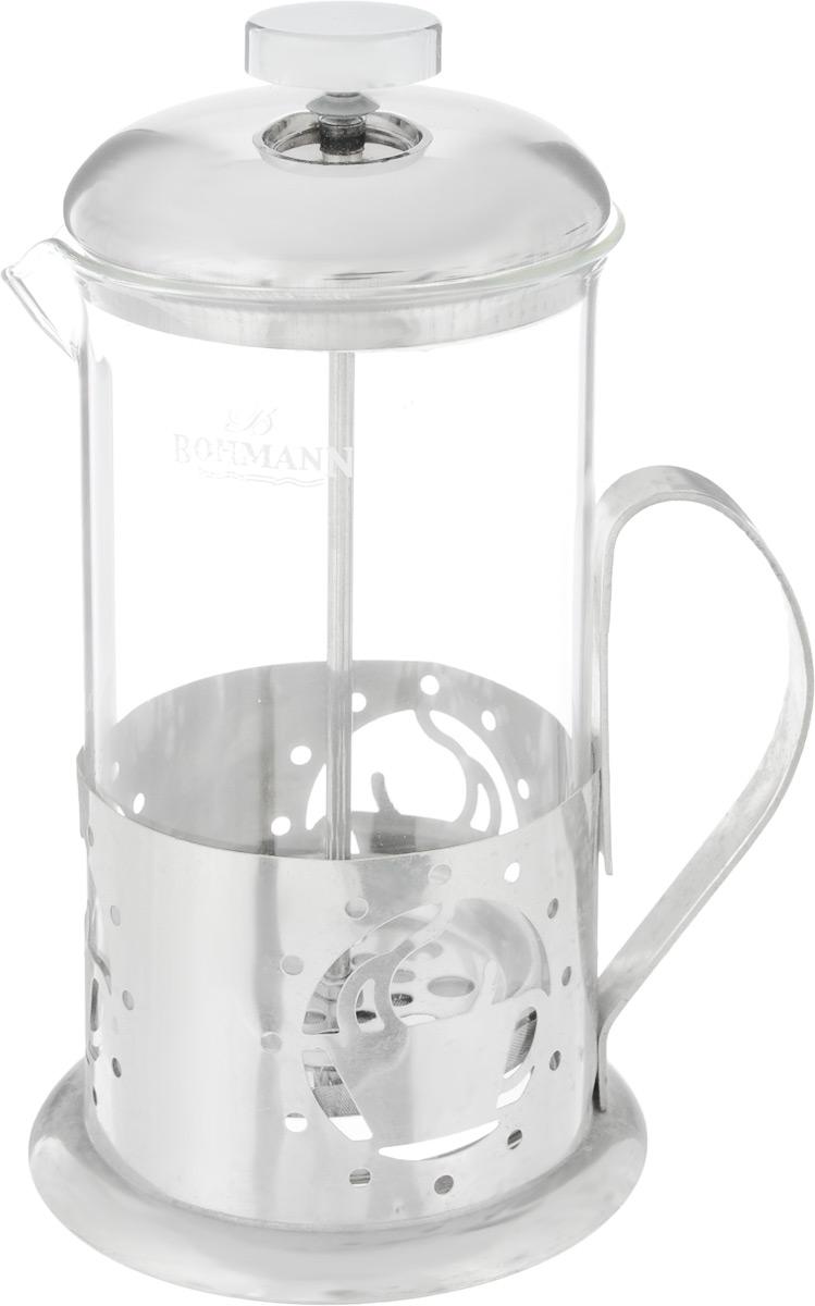 Френч-пресс Bohmann Чашка, 600 мл115510Френч-пресс Bohmann Чашка станет прекрасным выбором для повседневного использования, встречи гостей или небольших вечеринок. Колба, изготовленная их закаленного стекла, сохранит свежесть и аромат напитка. А конструкция френч-пресса, встроенного в крышку, прекрасно отфильтрует чай и кофе от заварочной гущи. Удобная ручка обеспечит надежную фиксацию в руке. Утолщенный ободок колбы повышает прочность и продлевает срок службы изделия. Насыпьте чай или кофе в стеклянную колбу, добавьте горячей воды и закройте стакан пресс-фильтром. Подождите 3-5 минут, затем медленно опустите пресс-фильтр до упора. Приятного чаепития!Френч-пресс Bohmann Чашка позволит быстро и просто приготовить чай или свежий и ароматный кофе. Объем: 600 мл.Диаметр (по верхнему краю): 9 см. Высота стенки (с учетом крышки): 20 см.