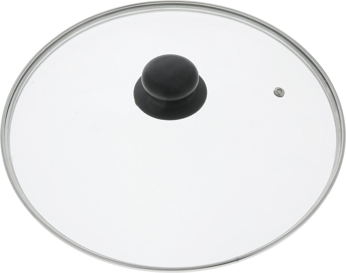Крышка стеклянная TimA, с металлическим ободом. Диаметр 28 см391602Крышка TimA изготовлена из высококачественного жаропрочного стекла. Изделие имеет металлический обод и отверстие для выпуска пара. Крышка оснащена удобной ненагревающейся ручкой из пластика. Такая крышка позволит следить за процессом приготовления пищи без потери тепла. Она плотно прилегает к краям посуды, сохраняя аромат блюд. Можно мыть в посудомоечной машине.