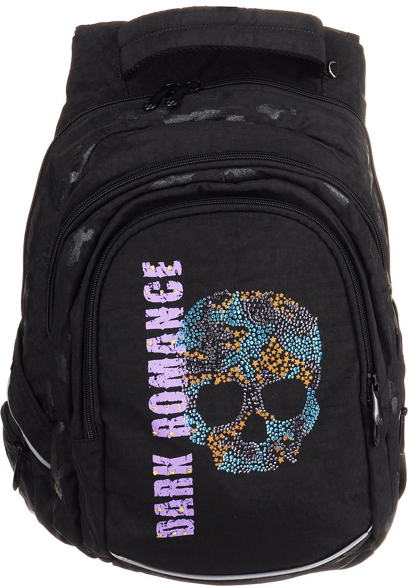 Walker Рюкзак Fun Dark Romance42088/80Рюкзак Walker Fun Dark Romance - это современный многофункциональный молодежный ранец, который выполнен из прочного износостойкого материала высокого качества.Рюкзак имеет одно основное отделение, закрывающееся на молнию с двумя бегунками. Внутри находится один кармашек на молнии и прочная перегородка из двух отделений для бумаг формата А4. Снаружи рюкзака расположены два отделения на молнии и четыре боковых кармана на молнии. В одном из внешних отделений имеются несколько кармашков для мелких аксессуаров и школьных принадлежностей. Имеется удобная текстильная ручка для переноски. А уплотненная спинка и лямки помогают лучше распределить нагрузку и сохранить форму рюкзака независимо от его наполнения. Светоотражающие элементы расположены на передней части рюкзака на боковых и лямках.
