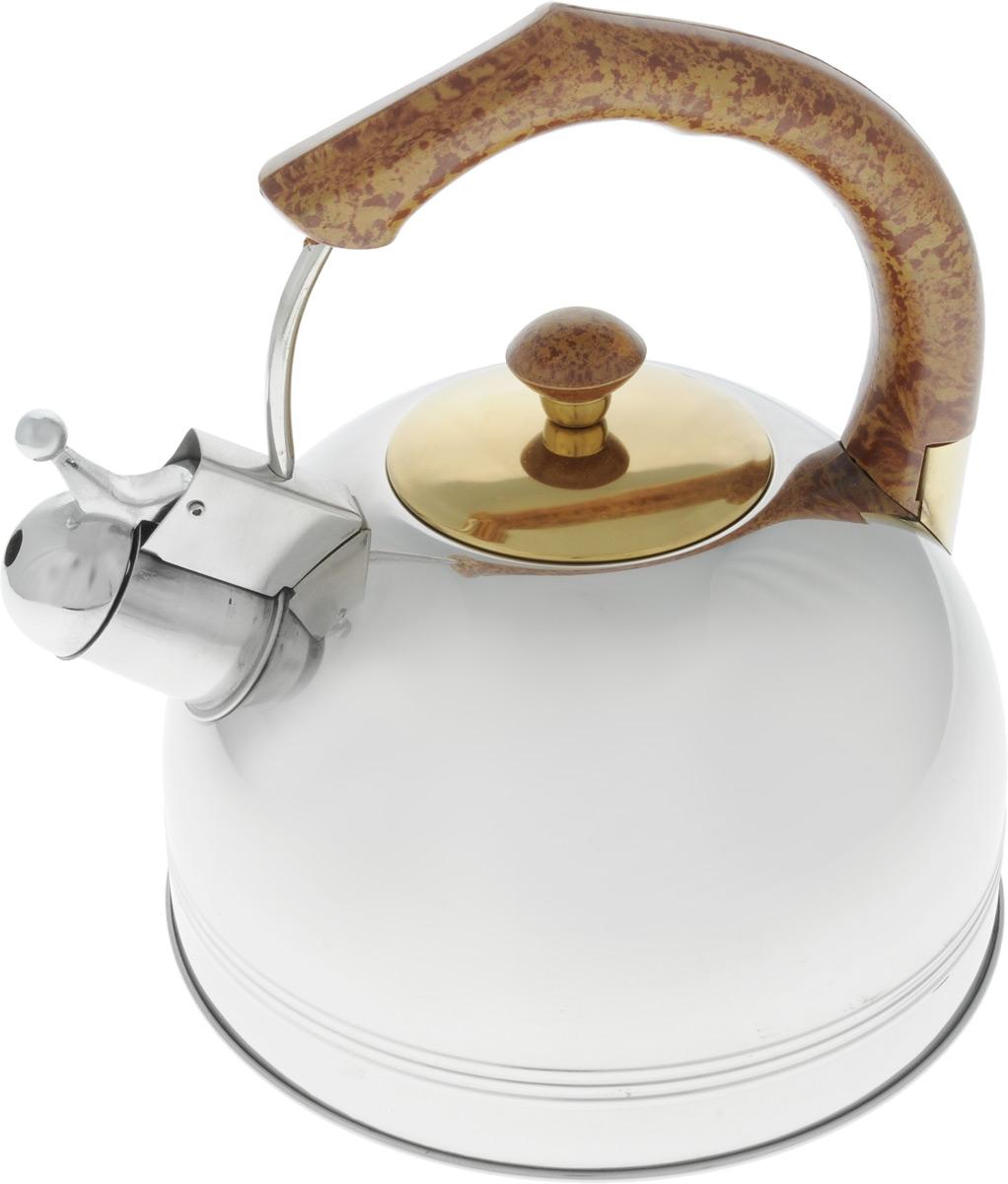 Чайник Bohmann со свистком, 3 л. 655BHLGDOVT-1520(SR)Чайник Bohmann изготовлен из высококачественной нержавеющей стали с зеркальной полировкой. Нержавеющая сталь - материал, из которого в течение нескольких десятилетий во всем мире производятся столовые приборы, кухонные инструменты и различные аксессуары. Этот материал обладает высокой стойкостью к коррозии и кислотам. Прочность, долговечность и надежность этого материала, а также первоклассная обработка обеспечивают практически неограниченный запас прочности и неизменно привлекательный внешний вид. Чайник оснащен удобной фиксированной ручкой, выполненной из бакелита с рисунком под дерево. Носик чайника имеет откидной свисток, который подскажет, когда вода закипела. Можно использовать на газовых, электрических, галогеновых, стеклокерамических, индукционных плитах. Можно мыть в посудомоечной машине.Высота чайника (без учета ручки и крышки): 12 см.Высота чайника (с учетом ручки): 23 см.Диаметр основания чайника: 20 см.Диаметр чайника (по верхнему краю): 8,5 см.