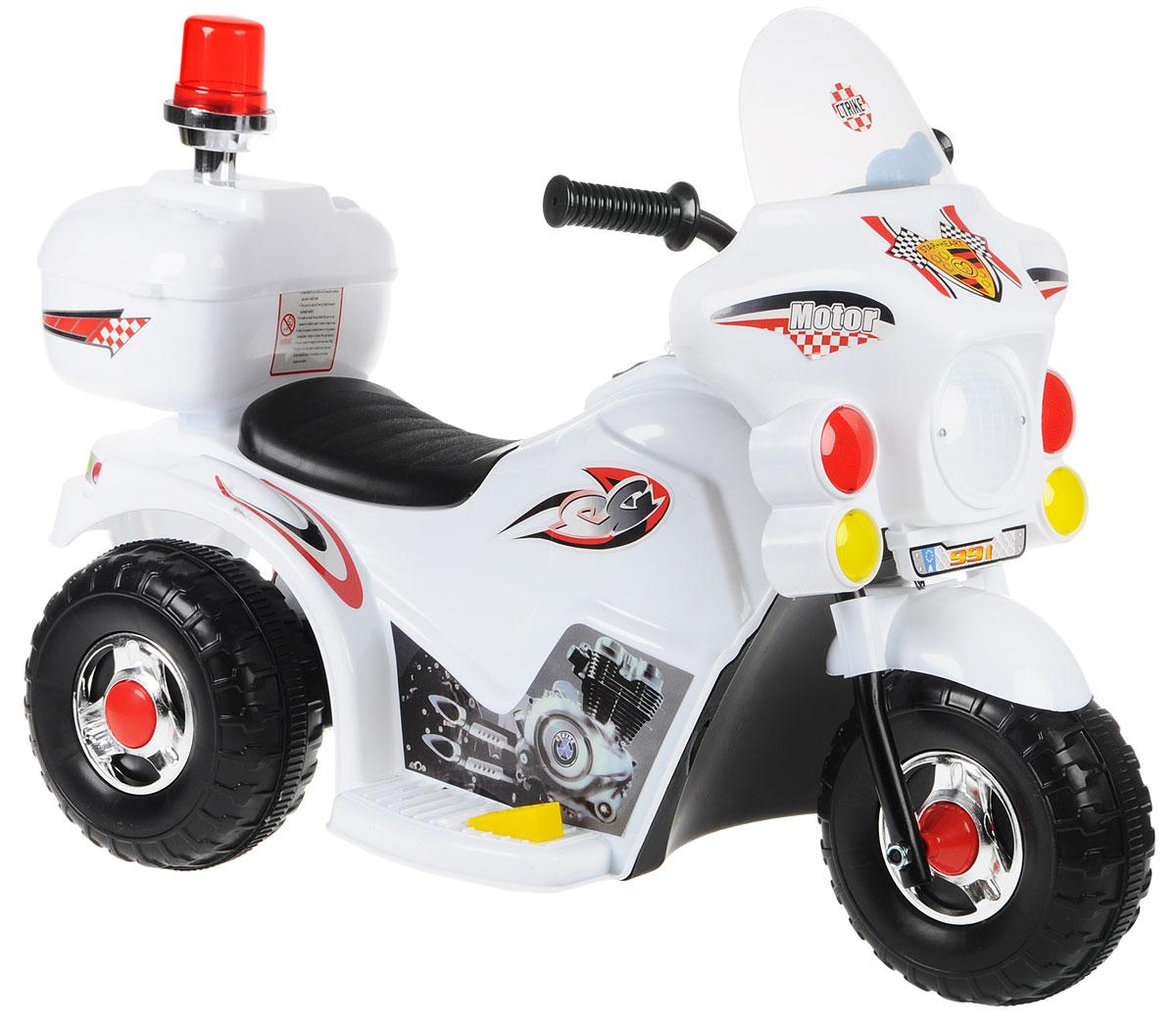 G120 Мотоцикл детский на аккумуляторе с маячком цвет белый - Электромобили