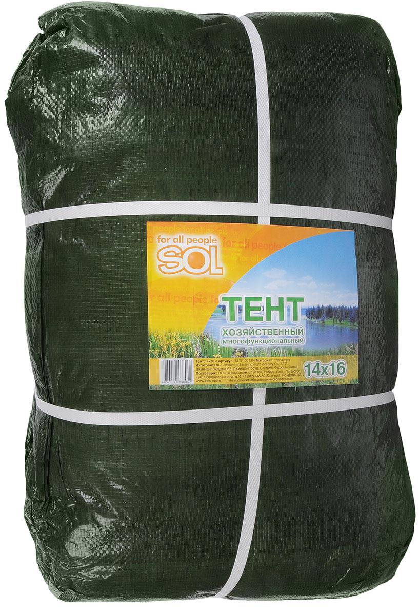 Тент терпаулинг Sol, цвет: темно-зеленый, 14 х 16 мSLTP-007.04Тент терпаулинг Sol изготовлен из высокосортного водонепроницаемого полиэтиленового сырья. По краю пропущен усиливающий капроновый шпагат и установлены металлические люверсы, благодаря которым тент можно монтировать на каркасную основу или использовать для свободного укрытия объектов. Тент используется для укрытия стройматериалов от дождя и снега, для сооружения временных навесов, для закрытия оконных проемов, для укрытия грузов, прицепов, автомашин, в качестве навесов, палаток, подстилок в походах, на отдыхе.Размер: 14 х 16 м.