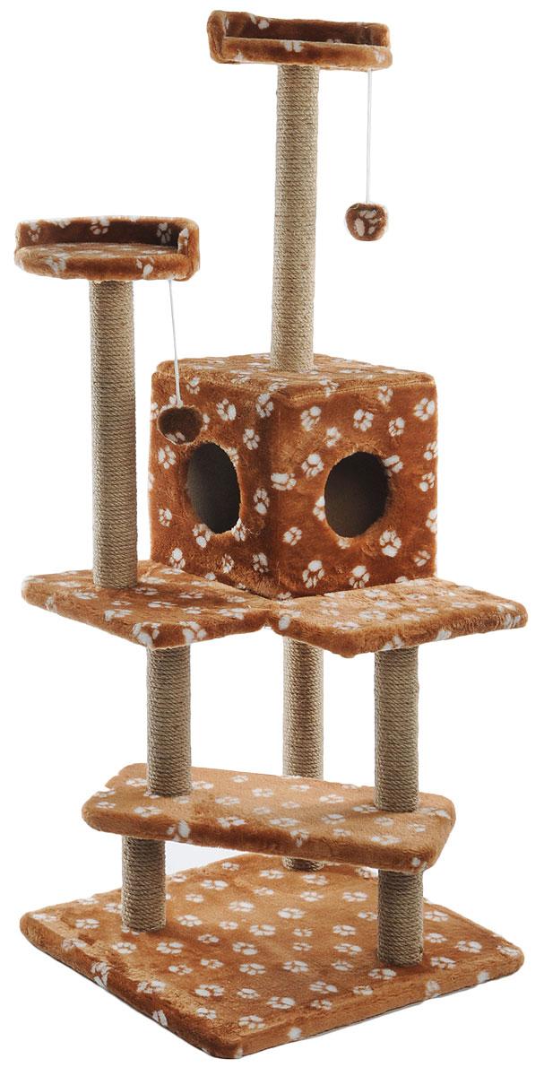 Игровой комплекс для кошек Меридиан Лестница, цвет: коричневый, белый, бежевый, 56 х 50 х 142 смК513ЦвИгровой комплекс для кошек Меридиан Лестница выполнен из высококачественного ДВП и ДСП и обтянут искусственным мехом. Изделие предназначено для кошек. Ваш домашний питомец будет с удовольствием точить когти о специальные столбики, изготовленные из джута. А отдохнуть он сможет либо на полках, либо в домике. Общий размер: 56 х 50 х 142 см.Размер верхних полок: 27 х 27 см.Размер домика: 31 х 31 х 32 см.