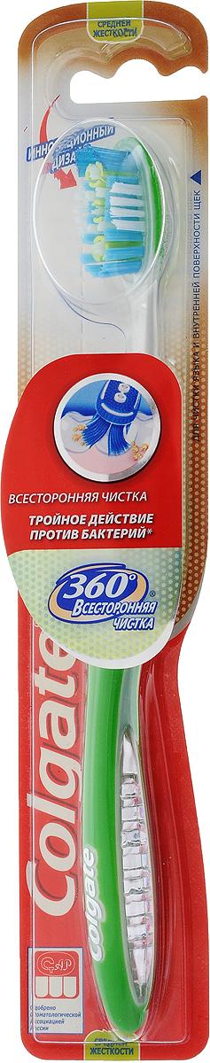 Colgate Зубная щетка 360° Всесторонняя чистка, средней жесткости, цвет: зеленый5010777139655Colgate Зубная щетка 360° Всесторонняя чистка, средней жесткости, цвет: зеленый