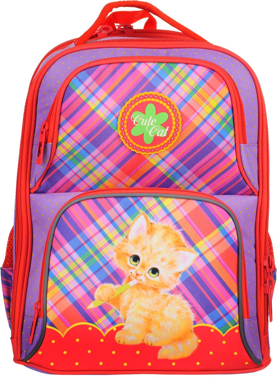 Hatber Рюкзак Comfort Cute СatNRk_11038Школьный рюкзак Hatber Comfort Cute Сat предназначен для детей младшего и среднего возраста.Изделие выполнено из ЭВА и оформлено изображением котенка. Светоотражающие вставки обеспечивают безопасность в темное время суток. Конструкция модели хорошо держит форму и удобно сидит на спине ребенка. Анатомическая спинка рюкзака, поддерживающая осанку, дополнена эргономичными вентилируемыми подушечками. Мягкие эргономичные лямки с регулировкой по длине обеспечат удобное и комфортное ношение. Рюкзак содержит вместительное основное отделение с перегородкой для тетрадей и учебников, а также дополнительное отделение для альбомов и папок. Помимо этого модель обеспечена двумя большими карманами спереди и двумя боковыми карманами для хранения мелочей и канцелярских принадлежностей. Дно оснащено пластиковыми ножками для защиты от загрязнений.Ранец оснащен удобной ручкой для переноски в руке.