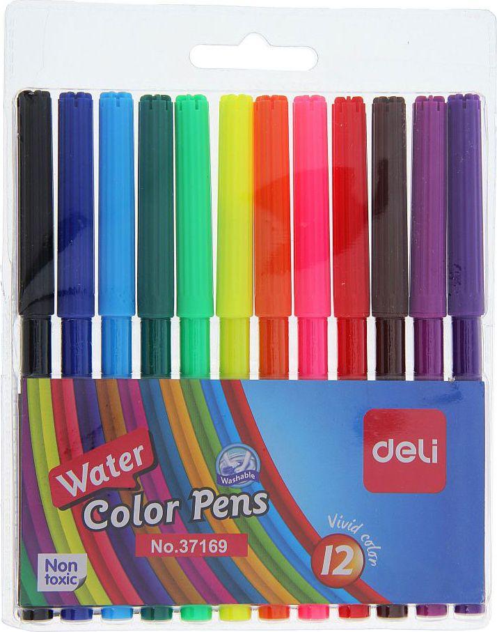 Deli Набор фломастеров Deli 12 цветовB9202962Фломастеры 12 цветов DELI — это беспроигрышное сочетание цены и качества. Особенности Толщина линии письма: 1 мм. Пулевидный наконечник. Смывающиеся чернила на водной основе.