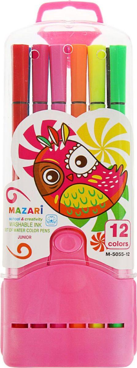 Mazari Набор фломастеров Junior 12 цветов1975774Яркие фломастеры Mazari Junior помогут маленькому художнику раскрыть свой творческий потенциал, рисовать и раскрашивать яркие картинки, развивая воображение, мелкую моторику и цветовосприятие. В наборе 12 разноцветных фломастеров. Корпусы выполнены из пластика. Чернила на водной основе нетоксичны, благодаря чему полностью безопасны для ребенка и имеют яркие, насыщенные цвета. Если маленький художник запачкался - не беда, ведь фломастеры отстирываются с большинства тканей. Вентилируемый колпачок надолго сохранит яркость цветов.