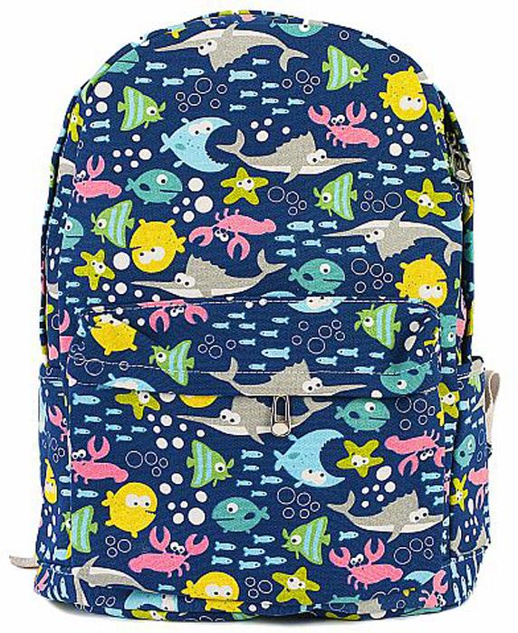 Рюкзак женский Kawaii Factory Рыбы, цвет: темно-синий. KW102-000308101225С рюкзаком Kawaii Factory Рыбы не нужно бояться быть смешным, нужно бояться излишней своей серьезности.Всем нам надо иногда отдохнуть и подурачиться. В составе рюкзака хлопок и полиэстер. Он имеет: 1 основное отделение, 3 внутренних кармана, 1 внешний карман, 2 боковых кармана. Закрывается на застежку-молнию. Лямки рюкзака регулируются.Размер: 40 х 28 х 12 см.