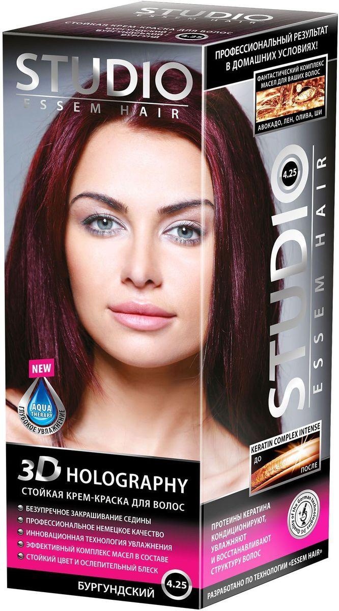Studio стойкая крем-краска для волос 3Д Голографи 4.25 Бургундский 50/50/15 мл09342750665Устойчивый цвет для любительниц ярких образов, блестящие и сияющие волосы! Инновационная формула позволяет максимально закрасить седину! Максимальное закрашивание седины Инновационная формула удерживает красящие пигменты на 25% дольше, чем обычная краска Светоотражающие частицы придают неповторимый блеск волосам. Биоактивный коктейль с ценными маслами авокадо, льна, оливы, и карите восстанавливают, питают и насыщают волосы витаминами Кремовая текстура легко распределяется и не течет Молекулы гидролизованного кератина делают волосы потрясающе крепкими и здоровыми Система AQUA therapy с мощным компонентом нового поколения Cutina Shine поддерживает водный баланс волос от корней до кончиков.