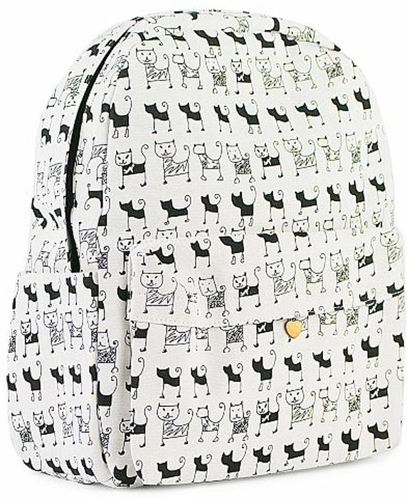 Рюкзак женский Kawaii Factory Черно-белые коты, цвет: белый, черный. KW102-000312S762451 основное отделение, 2 внутренних кармана (один на молнии), 1 внешний карман, 2 боковых кармана