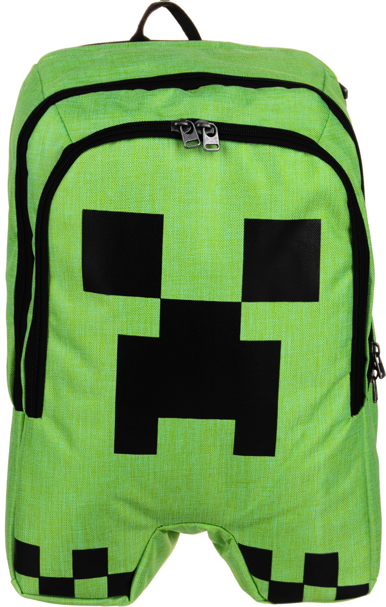 Рюкзак Minecraft Creeper Backpack представляет собой детский рюкзачок с двумя отделениями. Большое можно использовать для ноутбука, в маленьком есть пять кармашков для мелочей и два крепления для пишущий принадлежностей. Рюкзак снабжен мягкими регулируемыми по длине лямками и ручкой для переноски.Изделие предназначено для детей старше 8-ми лет.