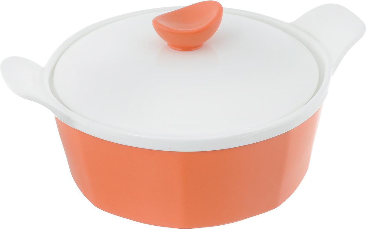 Кастрюля для запекания BartonSteel с крышкой, цвет: оранжевый, белый, 1 л54 009312Кастрюля для запекания BartonSteel выполнена из высококачественного жаропрочного фарфора с глазурью. Обжиг при температуре 1310°С. Изделие имеет толстые стенки, благодаря которым блюдо равномерно и быстро пропекается. Кастрюля имеет высокие стенки, удобные ручки и крышку, идеально подходит для запекания разнообразных блюд. Можно использовать в микроволновой печи и духовке, мыть в посудомоечной машине. Ширина кастрюли (с учетом ручек): 23 см.