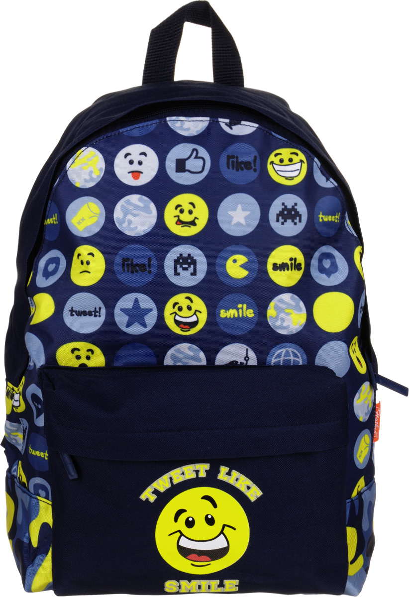 Hatber Рюкзак Basic Smile72523WDРюкзак Hatber Basic Smile - это современный молодежный рюкзак, отличающийся легкостью ивместительностью. Изделие выполнено из полиэстера и оформлено принтом с изображением смайлов.Рюкзак имеет одно основное отделение, закрывающееся на застежку-молнию. Внутри расположен карман для тетрадей, на лицевой стороне - накладной карман на молнии. Текстильная ручка обеспечивает возможность переноски рюкзака в одной руке. Изделие оснащено уплотненными спинкой, дном и лямками.
