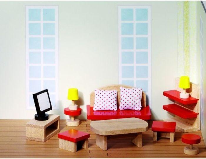 Goki Мебель для кукольной гостиной Красная 13 предметов мебель для гостиной стенки горки