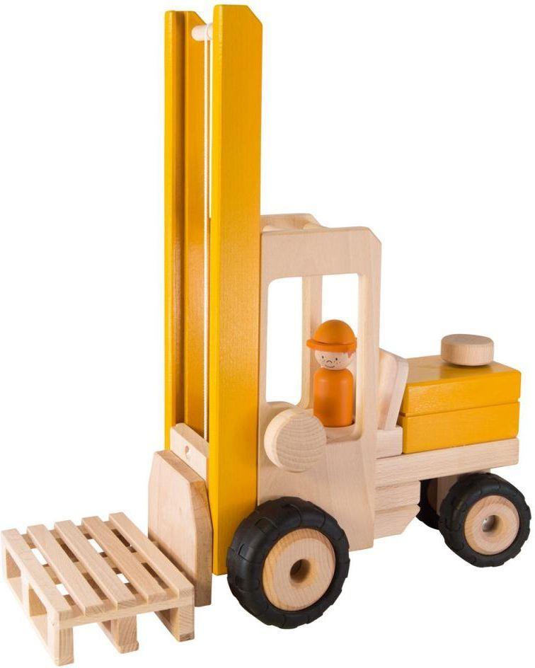 Goki Машинка деревянная Трактор-погрузчик с человеком - Транспорт, машинки