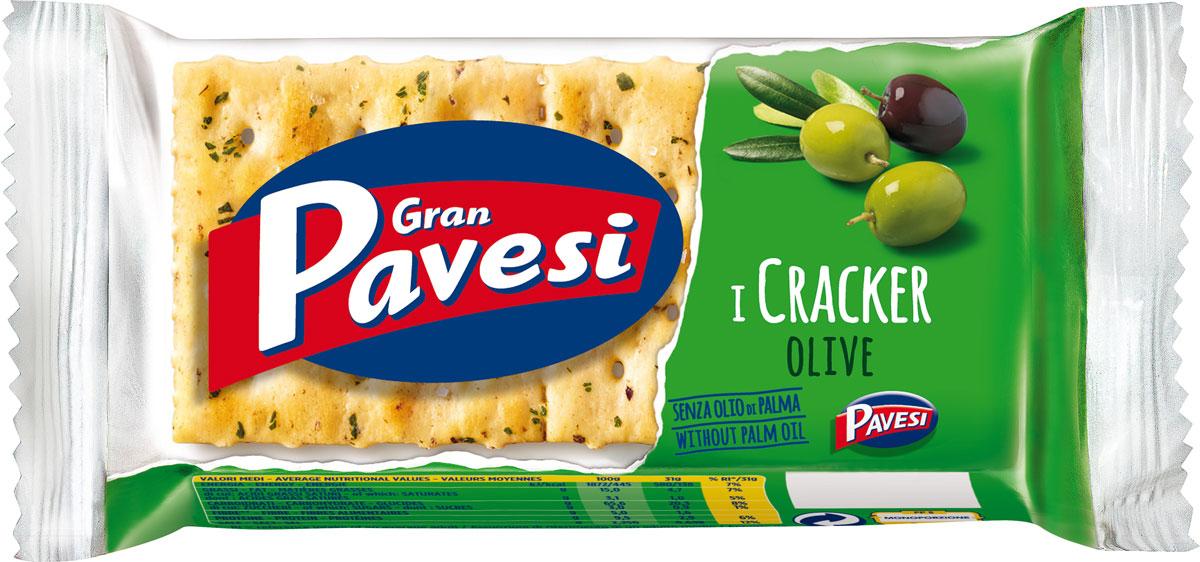 Gran Pavesi Cracker с оливками, 31 г80550549Gran Pavesi Cracker Olive - классический легкий соленый крекер с уникальной структурой и насыщенным вкусом Средиземноморья, приготовленный по традиционным итальянским рецептам на основе высококачественных и натуральных ингредиентах. Без гидрогенизированных жиров, консервантов и красителей.