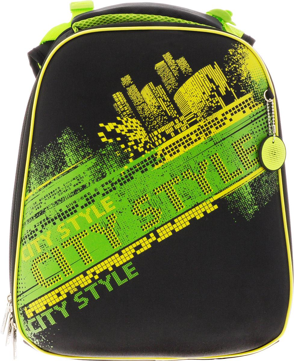 Hatber Ранец школьный Ergonomic Neon72523WDЭргономичный школьный ранец Hatber Ergonomic Neon предназначен для детей младшего и среднего школьного возраста.Модель выполнена из современного EVA материала. Объем изделия может быть увеличен с помощью раскрытия центральной застежки-молнии. Жесткий каркас и анатомическая вентилируемая спинка ранца способствуют равномерному распределению нагрузки, формированию правильной осанки. Ранец имеет два отделения на застежке-молнии. Дно выполнено из водонепроницаемого ПВХ и оснащено пластиковыми ножками. Регулируемые лямки позволят плотно зафиксировать ранец на спине. Светоотражающие вставки обеспечивают безопасность в темное время суток.Ранец оснащен удобной ручкой для переноски в руке.