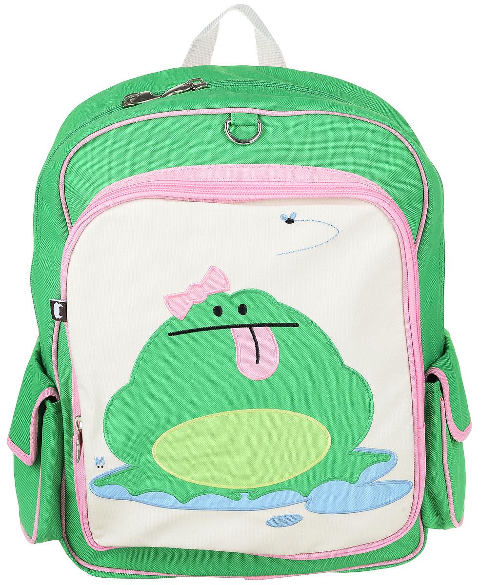 Рюкзак детский Beatrix Big Kid Katarina-Frog, цвет: розовый, молочный, зеленый72523WDРюкзак Beatrix Katarina-Frog изготовлен из износоустойчивого нейлона ярких расцветок.Рюкзак оформлен вышитой аппликацией с изображением забавного животного. Рюкзак состоит из вместительного отделения, закрывающегося на застежку-молнию с двумя бегунками. Бегунки застежки дополнены металлическими держателями. На лицевой стороне рюкзака один большой накладной карманом на молнии. Внутри отделения находится дополнительный кармашек на застежке-молнии. На задней стенке рюкзака имеется нашивка, на которой можно указать данные владельца. По бокам рюкзака имеются два накладных кармашка, закрывающихся на клапан с липучкой. Мягкие широкие лямки позволяют легко и быстро отрегулировать рюкзак в соответствии с ростом. Спинка рюкзака и лямки прошиты для дополнительного комфорта при эксплуатации. Рюкзак оснащен удобной текстильной ручкой для переноски в руке. Достаточно вместительный для того, чтобы в них поместились учебники, ноутбук, школьный завтрак и остальной арсенал школьника. Идеально подходит как для школы, так для повседневных прогулок, отдыха и спорта.