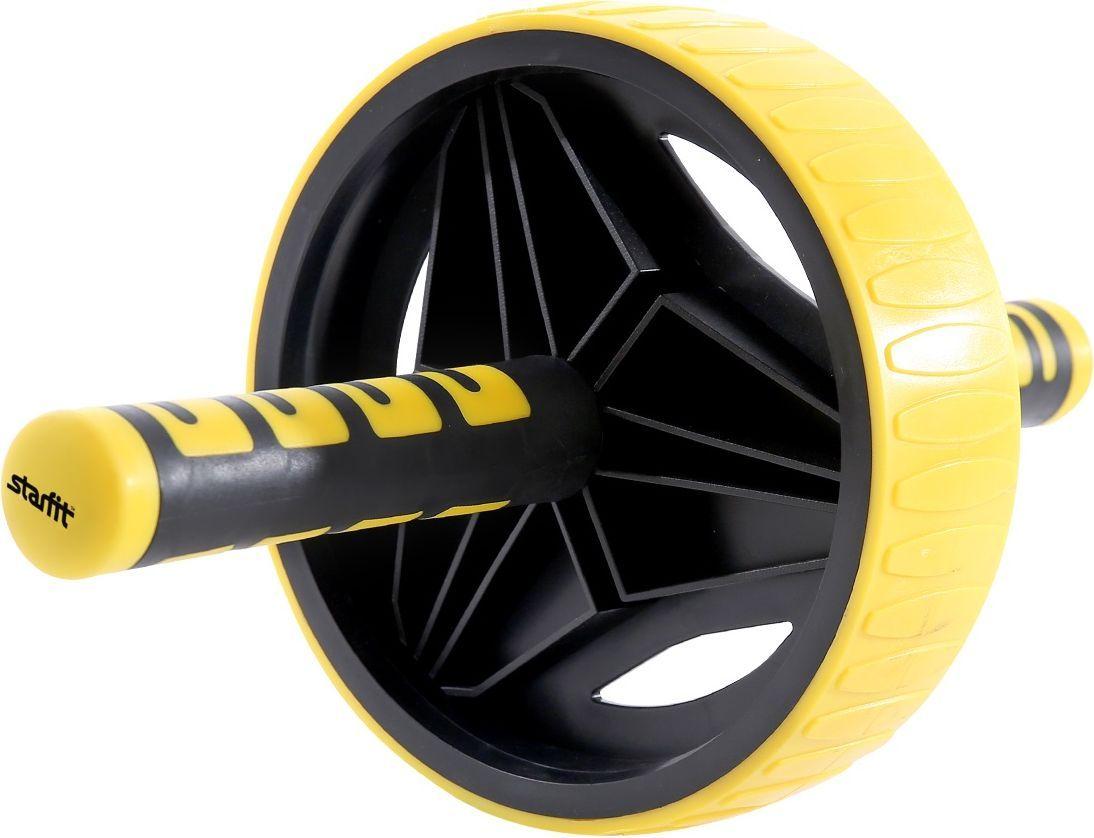 Ролик для пресса Starfit RL-105, цвет: черный, желтыйSF 0085Ролик для пресса RL-105 - фитнес-снаряд для комплексного укрепления мышц кора и брюшного пресса.Прочные резиновые ручки с функцией антискольжения. Широкое колесо 550 мм увеличивает площадь опоры, что придает ролику устойчивость и делает занятия безопасными. 100% резиновое покрытие обеспечивает максимальное сцепление роликового колеса с поверхностью. Модель оформлена в контрастном черно-желтом цвете.