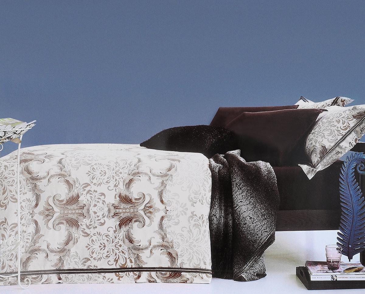 Комплект белья Arya Grafton, 2-спальный, наволочки 70x70, 50х70391602Роскошный комплект постельного белья линии Romance Жаккард состоит из пододеяльника, простыни и четырех наволочек, изготовлен из хлопкового жаккарда.Жаккард – это ткань с уникальным рисунком, который создают на специальном станке. Из-за сложного плетения эта ткань довольно жесткая, поэтому используют ее только для верхней стороны пододеяльника и наволочек. Хлопковый жаккард соединяет в себе все плюсы натуральной ткани и сложного плетения: хорошо впитывает влагу, дышит, долговечен и прочнее любой ткани, кроме натурального шелка.В сатине высокой плотности нити очень сильно скручены, поэтому ткань гладкая и немного блестит. Комплект из плотного сатина прослужит дольше любого другого хлопкового белья. Благодаря диагональному пересечению нитей, он почти не мнется, но по гладкости и мягкости уступает атласным тканям.